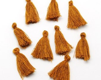 5 Mini Tassels 25mm to 30mm Cotton Perfect for So Many Projects Cinnamon Brown - Z139