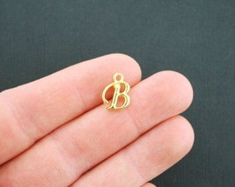 6 Letter B Charms Antique Gold Tone Cursive Script Initials - GC739