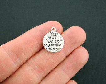 4 Destiny Charms Antique Silver Tone You are the Master of your Own Destiny - SC3557
