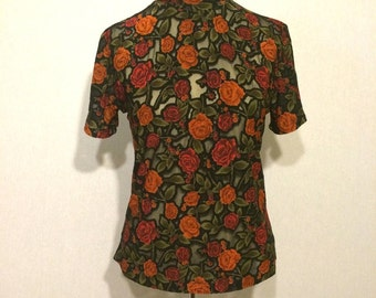 Vintage Rose Garden 90s Sheer Mock Turtleneck
