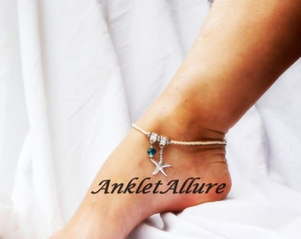 Beach Starfish Anklet Cruise Vacation Blue Crystal Silver Ankle Bracelet Beach Anklet