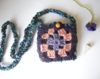 purple granny square pouch necklace  crystal festival pouch by Peace Stitch Studio