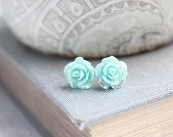 Pretty Little Roses Studs Flower Earrings iridescent Aqua Mint Metallic Shimmer Sparkle Surgical Steel Posts Nickel Free Stocking Stuffers
