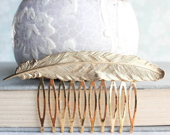 Gold Feather Comb Raw Gold Brass Large Feather Hair Piece Woodland Wedding Bird Hair Accessories Metal Hair Comb Boho Chic Bridal