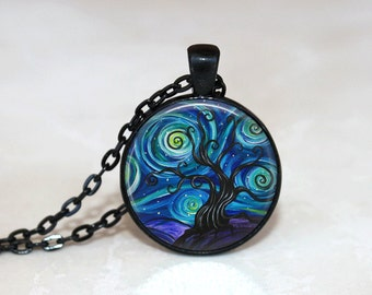 Glass Tile Necklace Tree Necklace Tree of Life Glass Tile Jewelry Tree Jewelry Black Necklace Blue Necklace Blue Jewelry Black Jewelry