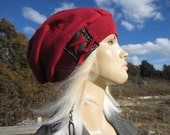 Red Hat Women's Slouchy Beanie Leather Corset Lace Tied Back Hat   A1426