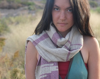 Sweet Raspberry Raw Silk & Tussah Silk Textural Delight - Modern Heirloom Handwoven Everyday Luxury Scarf - Naturally Dyed