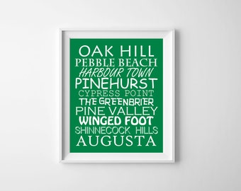 Golf Nursery Art, Green Nursery Art , Sports Wall Art , Golf Wall Decor , Tournament Golf Course Nursery Art , Golf Typography Wall Green