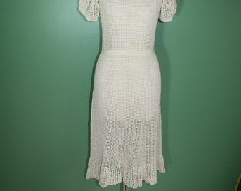 Antique Vintage Deco Nouveau 20's 30's Cotton Ecru Crocheted Open Work Hand Made Day Dress Wedding Dress Garden Party