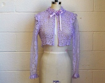 Vintage Crop Top Purple Lace Blouse with Ruffles Ribbons Bow Long Sleeve Sheer Pleated Floral Lace Top Size Small Dead Stock with Tags