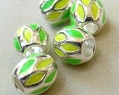 5 Brite Silver with Spring Green and Yellow Green Enamel Chevron  large hole beads, 12mm x 10mm, hole diameter 4.5mm, package of 5