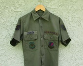 JOHNSON mens//unisex airforce military patchede button down