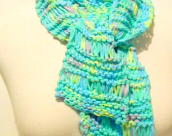 Spring Pastels Knit Scarf, Hand Knit Scarves, Womens Accessories