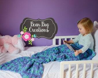 Crocheted Mermaid Tail Blanket, Kid's Mermaid Tail Blanket, Adult Mermaid Cocoon/