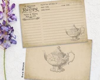 Bridal Recipe Cards - Vintage Teapot - Recipe card printable