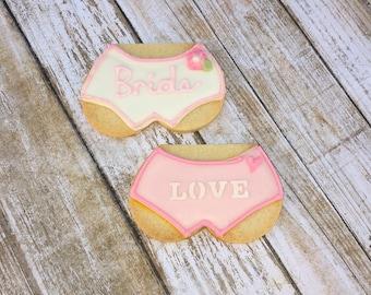 Lingerie Panties Cookie Favor, Bridal Shower Wedding Cookie Favors- 1 dozen
