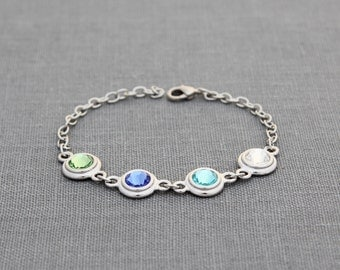 Custom Birthstone Bracelet in Silver, Mothers Family Jewelry, Gift for Aunt, Mom, Mommy, Grandma Bracelet