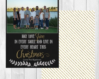 "Photo Christmas Card: May Love Shine // 5x7"" printable"