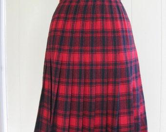 Vintage 1970s Pendleton Tartan Midi Skirt, Red and Black Plaid, High Waist, Size S/M