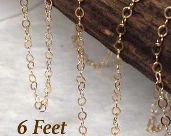 Gold Filled Cable Chain - 6 Feet - Light Weight and Dainty 14kt Gold Chain  2mm x 1.5mm - CH14-6
