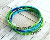 blue green beaded memory wire bracelet, wrap bracelet, beaded bangle