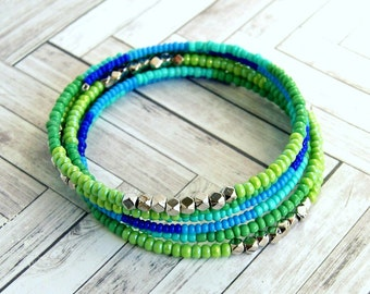 blue green beaded memory wire bracelet, wrap bracelet, beaded bangle