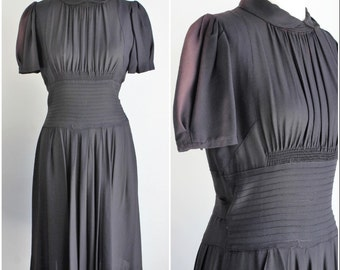 Vintage 1940s Black Rayon Dress / 40s  LBD Little Black Dress / Keyhole Back / Semi Sheer/ Gothic Clothing / Smocking / Coffin Pleats