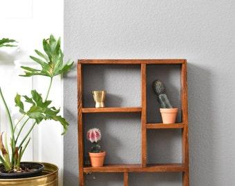 large vintage wooden wall shelf display / curio shadow box / primitive