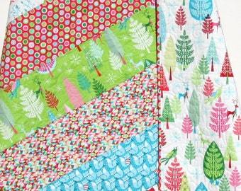 SALE LAST ONE Christmas Throw Quilt Lap Blanket Festive Forest Woodland Animals Trees Fox Deer Red Blue Pink Green Blanket Ready to Ship
