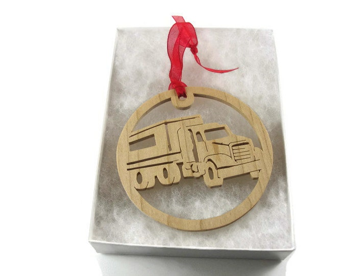 Semi Tractor Trailer Christmas Ornament, Handmade From Maple Wood By KevsKrafts BN-001-3