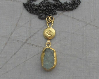 Rough Aquamarine Gold Necklace - 24k Solid Gold Pendant - Solid Gold & Silver Necklace