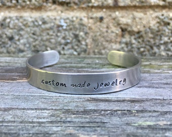 """Custom personalized hand stamped cuff - brushed aluminum 3/8"""" x 6"""", personalized bracelet, custom bracelet, mother's jewelry"""