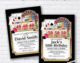 Casino Invitation, Poker Playing Card Gold birthday invitation, for any age 30th 40th 50th 60th 70th 80th card 598