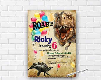 realistic Dinosaur Birthday Invitation any age for kids birthday 1st 2nd 3rd 4th 5th Dinosaur Rustic retro dinosaurs. - card 719