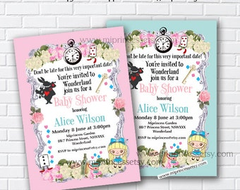 Alice in wonderland invitation,   Baby Shower , girl alice baby shower, invitation Shabby Chic wedding newbaby Invitation - card 869