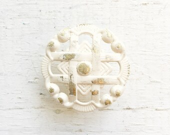 Vintage Antique White Metal Lattice Knobs , Victorian Home Decor , Distressed Cream Ivory, French Country Cottage ,