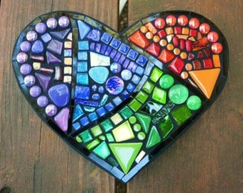 """CUSTOM Mosaic Heart with Multicolored Stained Glass, Colored Gems, Ceramic Tiles and Glass Beads - Measures  8.5"""" x 5"""" - OOAK!"""