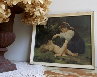 Vintage Framed Lithograph Print | Natures Fan Girl With A Child by William Bouguereau | Romantic Cottage Chic Decor | Nursery Decor