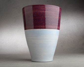 Ceramic Vase Wheel Thrown Plum And Matte Blue Vase Utensil Holder by Symmetrical Pottery Ready To Ship