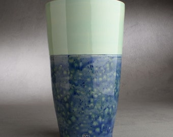 Ceramic Vase Wheel Thrown Pale Green And Blue Vase Utensil Holder by Symmetrical Pottery Ready To Ship