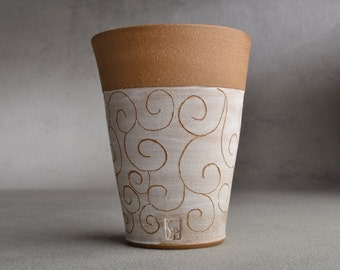 Carved Curls Tumbler Ready To Ship Brown and White Carved Stoneware Tumbler by Symmetrical Pottery
