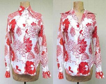 Vintage 1960s Blouse / 60s Ivory Orange Crepe Floral Evan-Picone Blouse / Medium
