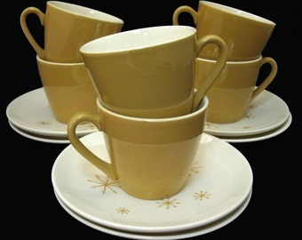 Star Glow Royal China cups & saucers Ironstone mid-century atomic starburst 6 sets