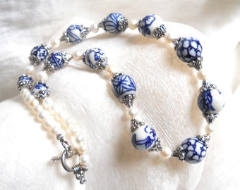 blue necklace delft necklace delft blue jewelry Delft blue necklace blue and white necklace delft blue necklace freshwater pearl necklace