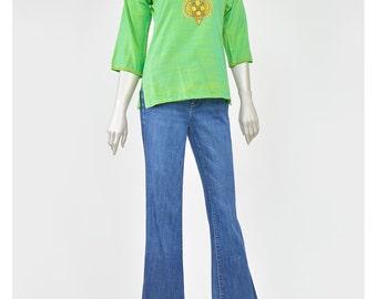 Vintage Embroidered Blouse 70s Tunic India Cotton Blouse Green Shirt Boho Hippie Top Bohemian Blouse 1970s Shirt Ethnic Blouse