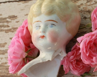 China Doll Head Large Broken Porcelain Beautifully Painted Blond