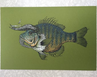 Magical green horned fish screen print