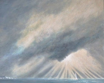 Original acrylic painting on canvas shafts of light highlight a yacht sailing out of an ocean storm