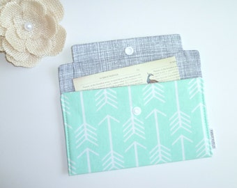 Coupon / Receipt Holder / Cash Wallet / Jewelry Pouch - Arrows on Mint
