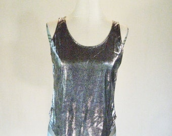 Cristina Liquid Metal Dotted Slouchy Tank Top Glam